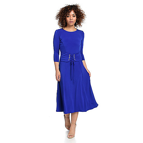 736-131- Kate & Mallory® Stretch Knit 3/4 Sleeve Lace-up Front Midi Dress