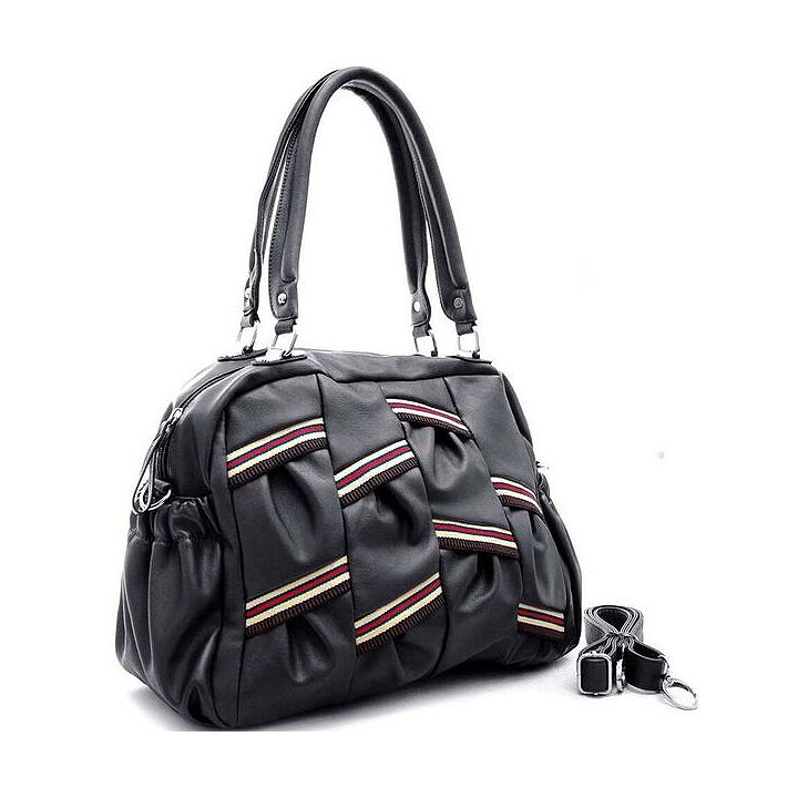 Handbags & Shoes Gifts Under $30 at ShopHQ - 736-160 Dasein Faux Leather Multi Color Stripe Shoulder Bag w Strap