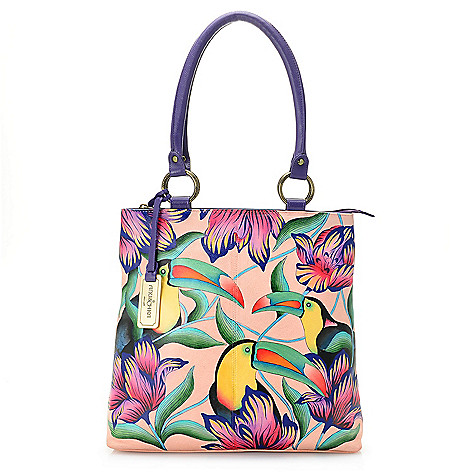 d90157606bed 736-180- Anuschka Hand-Painted Leather Zip Top Multi Compartment Shopper  Tote Bag