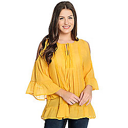 8873222a2b4c97 Image of product 736-196. QUICKVIEW. More Choices Available. OSO Casuals® Woven  Bell Sleeve Cold Shoulder ...