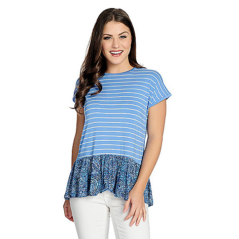 Wholesale OSO Casuals Striped & Printed Knit Extended Shoulder Flounce Hem Top hot sale