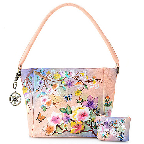 8be71fc593ac Anuschka Hand-Painted Leather Zip Top Hobo Handbag w  Coin Pouch   Keychain  - Final Sale - EVINE