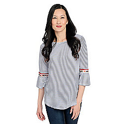 e553f03b320707 Image of product 736-510. QUICKVIEW. More Choices Available. OSO Casuals®  Striped Knit 3 4 Bell Sleeve ...