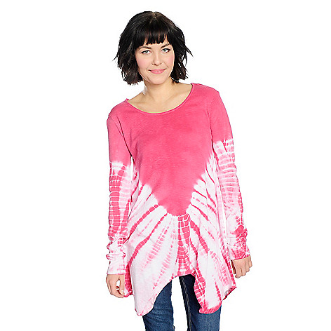 Discount OSO Casuals Knit Tie-Dye Long Sleeve Scoop Neck Sharkbite Top free shipping