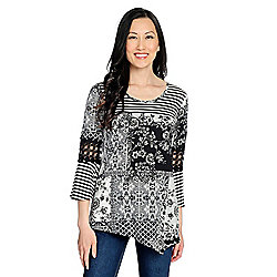 0ac4c4c1e8fba4 Image of product 736-710. QUICKVIEW. OSO Casuals® Printed Knit 3 4 Bell  Sleeve Crochet Detailed Pointed Hem Top