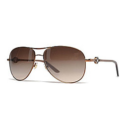 Luxury Eyewear - 736-767 Versace Brown Aviator Frame Sunglasses w Case - 736-767