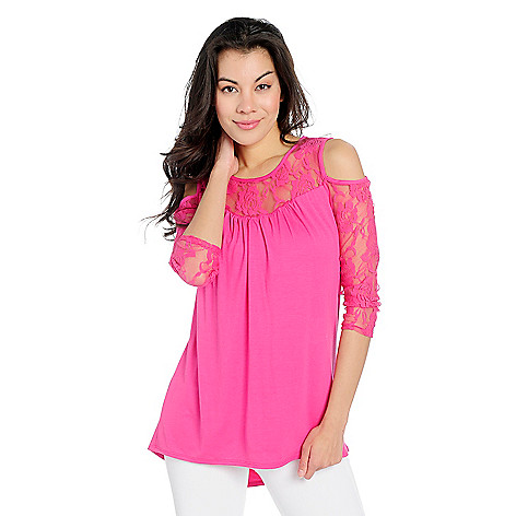 fc19b529b77f9d Kate   Mallory® Knit   Lace 3 4 Sleeve Cold Shoulder Hi-Lo Tunic - EVINE