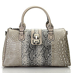 Hobos & Top Handles - 736-805 Madi Claire Jana Croco & Snake Embossed Leather Satchel w Removable Strap - 736-805