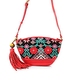 Tasseled - 736-889 Sharif Orman Garden Embroidered Linen & Leather Zip Top Mini Crossbody Bag w Tassel Keychain - 736-889