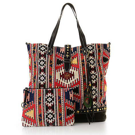 736 893 Sharif Kilim Tapestry Leather Weekender Tote Bag W