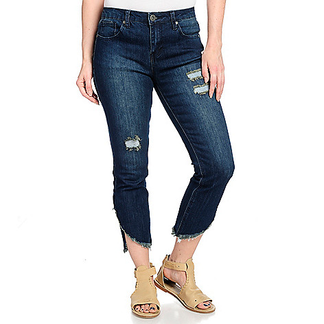Wholesale Indigo Thread Co.Stretch Denim5-Pocket RawEdge Tulip HemDistressed Jeans for cheap