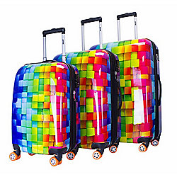 ATM Luggage 3-D Rainbow 3-Piece Spinner Luggage Set