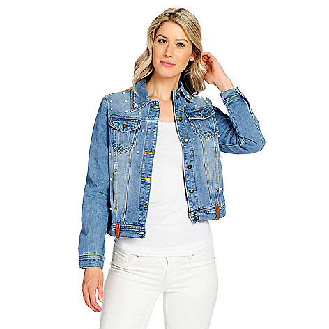 430c3011c8e OSO Casuals® Denim 4-Pocket Faux Pearl Embellished Button-up Jacket ...