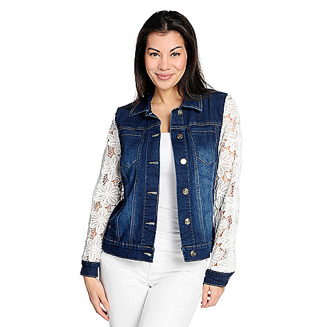 22de7e9c6a OSO Casuals® Denim 4-Pocket Crochet Lace Sleeve Button Front Jacket ...