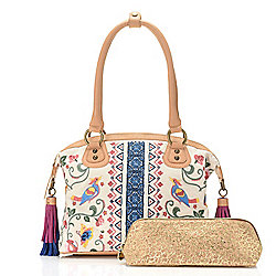 Top Handles - 737-187 Sharif Andalusian Garden Bird or Floral Embroidered Canvas & Leather Satchel w Cork Pouch - 737-187