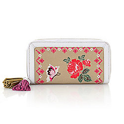 Clutches & Wallets - 737-188 Sharif Andalusian Garden Bird or Floral Embroidered Canvas & Leather RFID Blocking Wallet - 737-188