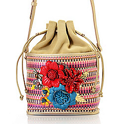 Crossbodies - 737-216 Sharif Museum Memory of Mom Woven, Suede & Leather Applique Drawstring Bucket Bag - 737-216