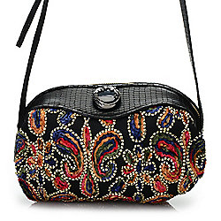 Museum Collection - 737-219 Sharif Museum Egyptian Pouf Lizard Leather Embroidered Crossbody Bag - 737-219