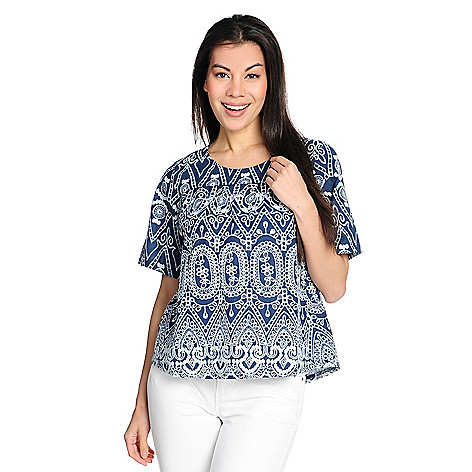 b38615506c 737-265- OSO Casuals® Woven Short Sleeve Keyhole Back Embroidered Eyelet Top