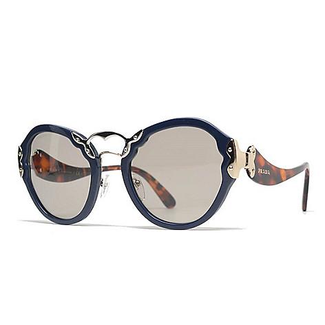 5fc286f8685 737-414- Prada 53mm Faux Tortoiseshell   Blue Round Frame Sunglasses w  Case