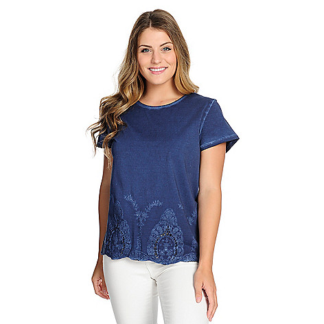 d6edc716c1fb0 737-453- OSO Casuals® Knit Cold-Dye Short Sleeve Embroidered Eyelet Hem