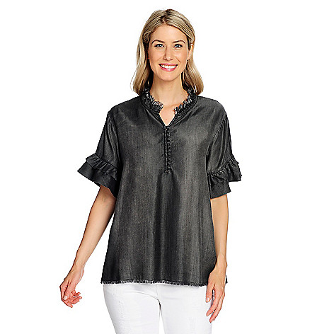 Nice Indigo Thread Co.Woven TieredRuffle SleeveFrayed Edge CollarButton-down Top for sale