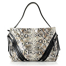 Totes - 737-538 Sharif Anaconda Tears Snake Printed Leather Slouchy Shopper Tote Bag - 737-538
