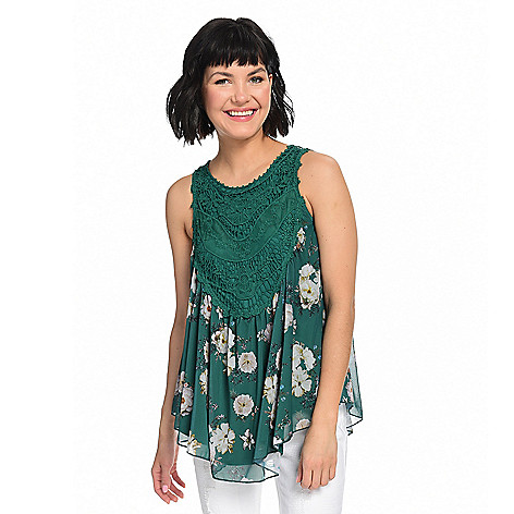7930e69301e 737-624- Indigo Thread Co.™ Printed Mesh Partially Lined Crochet Lace Bib