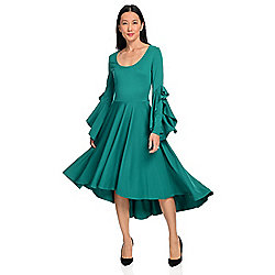 Dresses & Skirts - 737-714 Marc Bouwer Stretch Knit Long Ruffle Sleeve Scoop Neck Hi-Lo Dress - 737-714