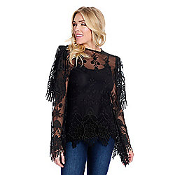 ca09b3aa416ab0 Marc Bouwer Embroidered Mesh Long Sleeve Shoulder Overlay Zip Back Top