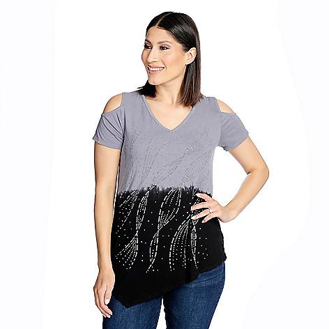 812923dd57b9 737-765- Glitterscape® Knit Dip-Dye Cold Shoulder Asymmetrical Hem  Embellished Top