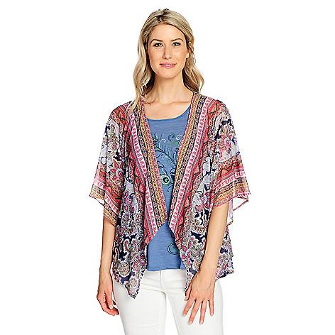 7753ff9158 737-770- One World Printed Mesh Kimono Cardigan   Knit Embellished Tank Top  Set