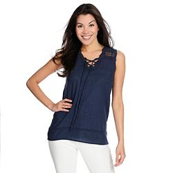 Tops Under $20 737-857 OSO Casuals® Woven 100% Cotton Crochet Detailed Lace-up V-Neck Tank Top - 737-857
