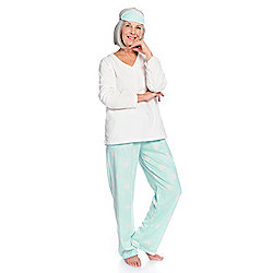 Harve Benard Minky Fleece Top, Pants & Sleep Mask 3-Piece Pajama Set