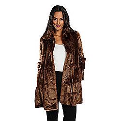 Donna Salyers  Fabulous-Furs Faux Fur 2-Pocket Ruffled Collar Tiered Coat c06d436ca1cf