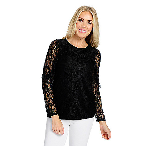 db23b372854 Kate   Mallory® Lace   Knit Long Sleeve Ruffle Detailed Keyhole Back ...