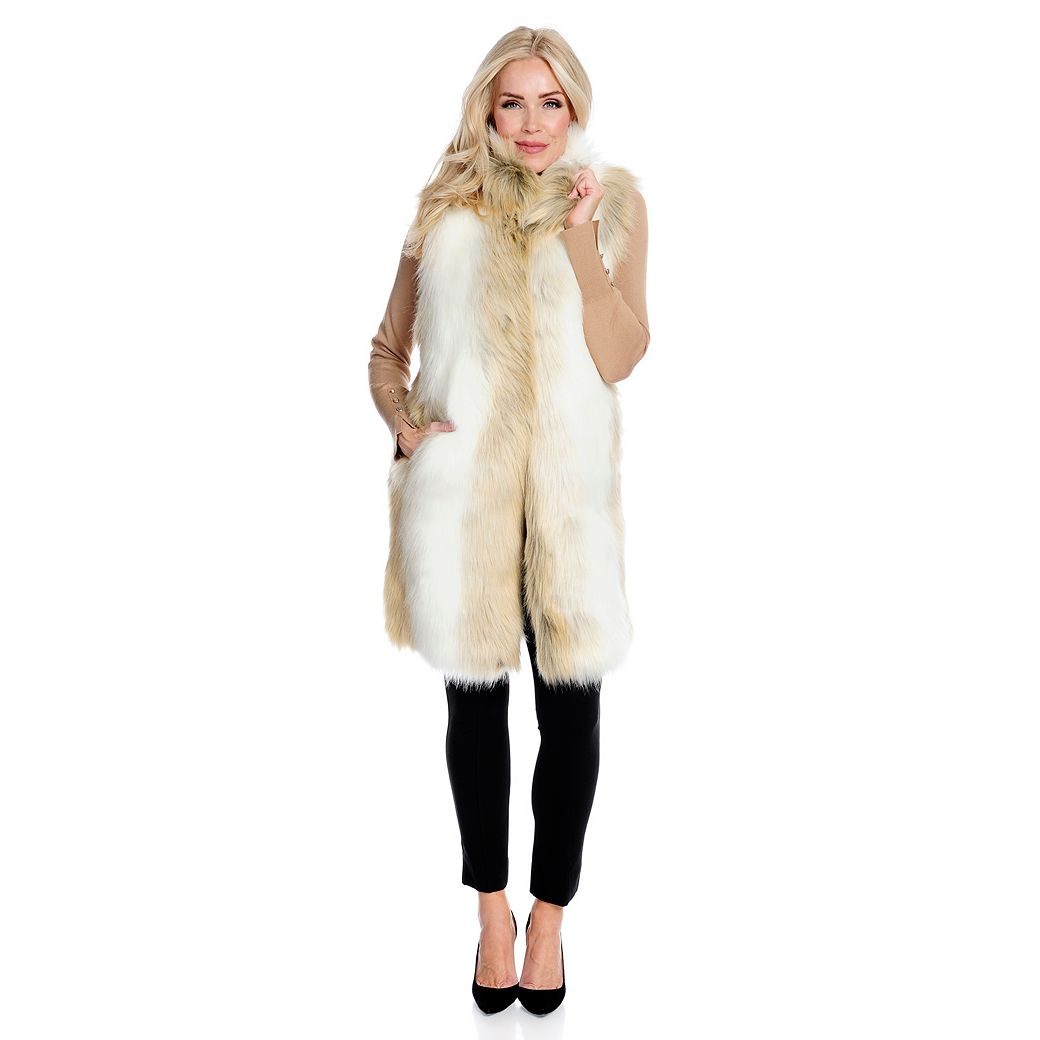 Donna Salyers Fabulous Faux Furs at ShopHQ | 738-159 - Donna Salyers' Fabulous-Furs Faux Fur 2-Pocket Stand Collar Hook Front Vest