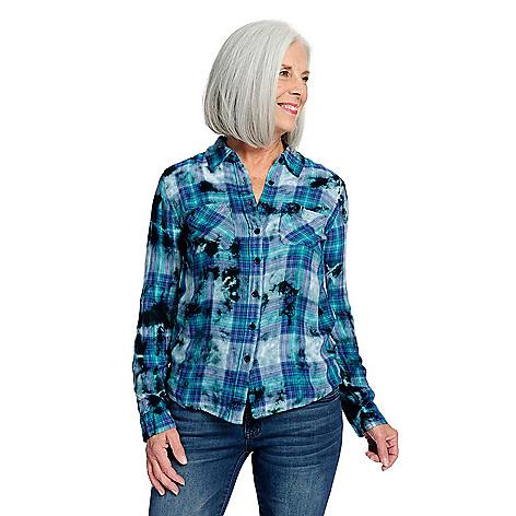 0a1d48fba396 Indigo Thread Co.™ Woven Tie-Dye   Flocked Velvet Long Sleeve Plaid ...