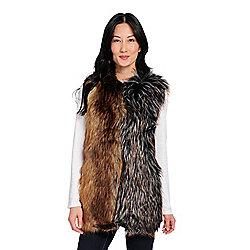 b0ee3a353b1 Donna Salyers  Fabulous-Furs Faux Suede   Faux Fur Two-tone Hook Front