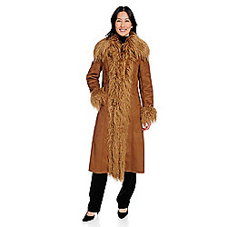 f89138eb7eac Donna Salyers  Fabulous-Furs Mixed Media Oversized Collar Full-Length Coat
