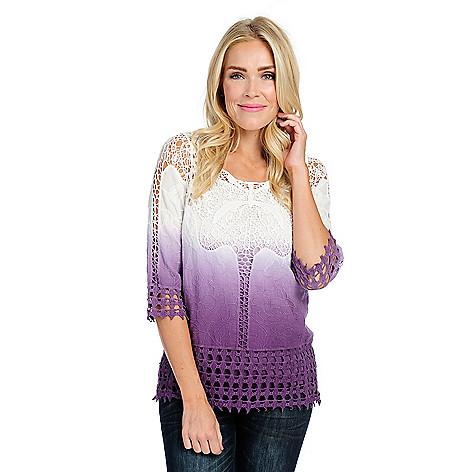 Indigo Thread Co ™, Woven & Crocheted, Lace Dip-Dye, 3/4 Sleeve, Tank Lined  Top