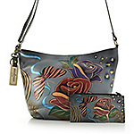 Anuschka Hand Painted Leather Zip Top Triple Compartment Crossbody Bag Video