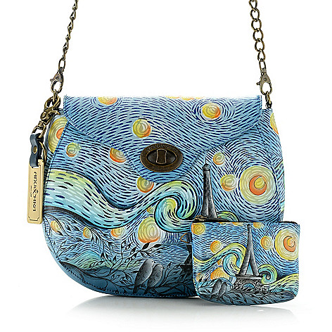 27060643730d 738-441- Anuschka Hand-Painted Leather Flap-over Turnlock Crossbody Bag w