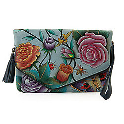 Anuschka Hand-Painted Leather Flap-over Convertible Clutch w 2 Straps - 738-449