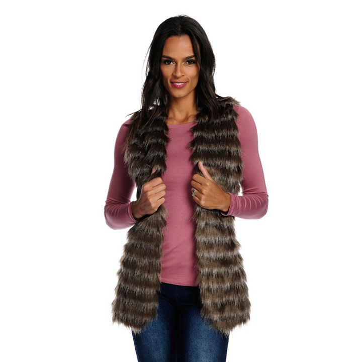 Faux Fur Fashions Real Deals of up to 50% Off at ShopHQ 738-460 Donna Salyers' Fabulous-Furs Faux Fur 2-Pocket Satin Lined Open Front Vest