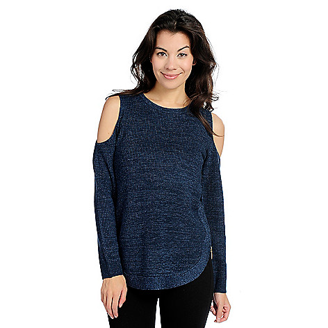 86d436e7c4b 738-535- Kate   Mallory® Knit Long Sleeve Cold Shoulder Scoop Neck Zipper