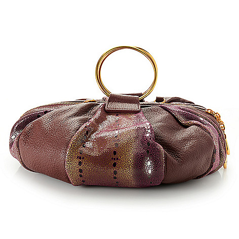 738-596- Sharif Museum Stingray Embossed Leather Balloon Shaped Top Handle  Bag w  712a7ad2cee78