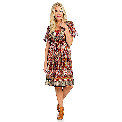 1f485c7858d3e 738-699- One World Printed Knit   Chiffon Ruffle Short Sleeve Flip Flop  Dress