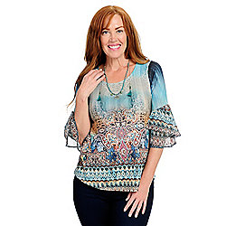 738-734 One World Printed Knit & Chiffon 34 Ruffle Sleeve Top w Beaded Necklace - 738-734