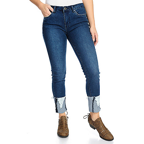 106b9f4d3d4e2e 738-861- Indigo Thread Co.™ Stretch Denim Distressed   Cuff Detailed Skinny